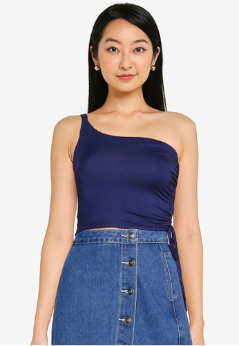 ZALORA BASICS navy One Shoulder Top With Side Ruching D07F8AA94D190AGS_1
