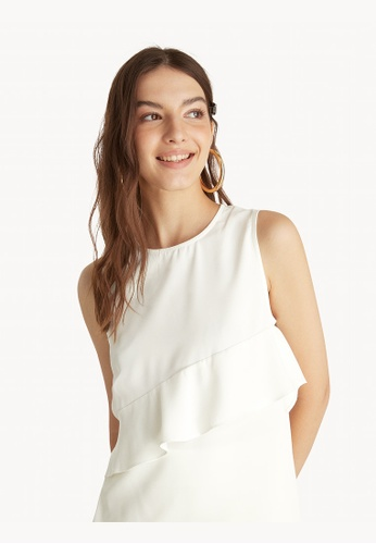 Pomelo white Asymmetrical Ruffled Tie Top - Off White 99D70AAEF5AB29GS_1