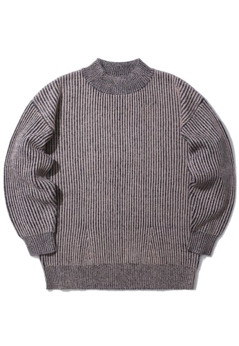 b+ab pink Two-tone ribbed knit sweater C68ACAA1436600GS_1