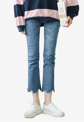 Shopsfashion blue Torn Hem Cropped Jeans 88E06AA4331AA3GS_1