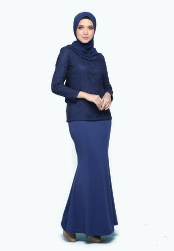 Kurung Lace Mulan Blue from Seri Maharani in Blue