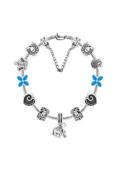 DBY025 Clock & Flower Beads Sterling DIY Bracelet with Elephant Animal