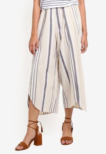 TOPSHOP beige Stripe Split Trousers D4DA0AAEAA7FA7GS_1