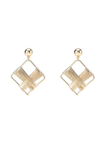 Saturation gold Statement Rhombus Earrings 887EEACC78F88CGS_1
