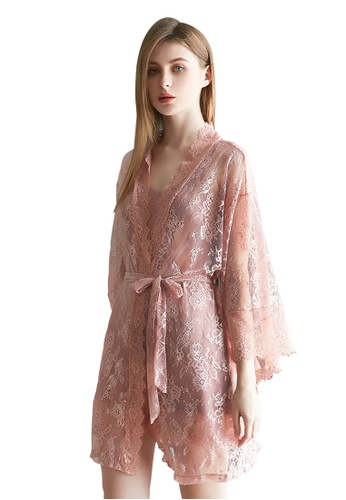 LYCKA pink LCB2117-Lady Sexy Robe and Inner Lingerie Sets-Pink D3128USAC00CAAGS_1