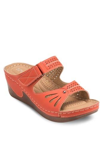雙寬帶低楔形esprit hong kong 分店涼鞋, 女鞋, 鞋