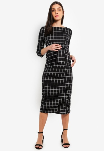 Mama.licious black Maternity Grid 3/4 Jersey Midi Dress DF1BBAA4CE1E1CGS_1