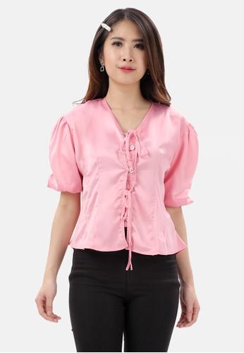 MKY Clothing pink MKY Button Balloon Sleeve Blouse 9552DAA961369CGS_1