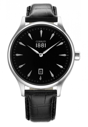 CERRUTI 1881 black Black Leather Strap Men Watch CE514AC88QMPMY_1