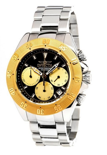 INVICTA gold Invicta Speedway Men 48mm Case Silver Stainless Steel Strap Black, Gold Dial Quartz Watch 22399 IN968AC0F5FLSG_1