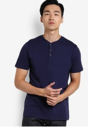 Burton Menswear London navy Navy Short Sleeve Grandad Neck T-Shirt BU964AA54UHXMY_1