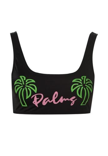 Trendyol black Slogan Print Bikini Top 878B8US7556F42GS_1