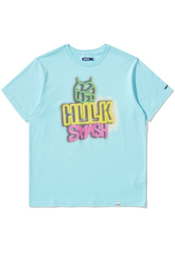 BLOCKAIT blue X Marvel Hulk graphic tee B7A1FAA4E5E2B0GS_1