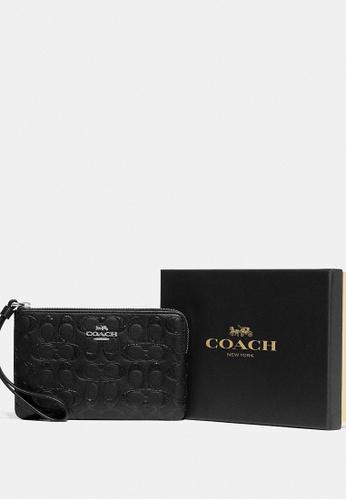 Coach black Coach - Boxed Corner Zip Wristlet In Signature Leather - Black 2BAB2AC9B21DB1GS_1
