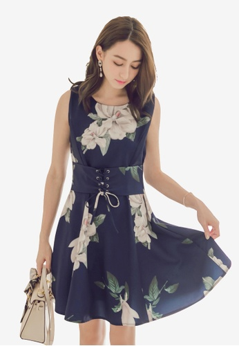 Yoco navy Floral Corset Dress D53DCAA99AF381GS_1