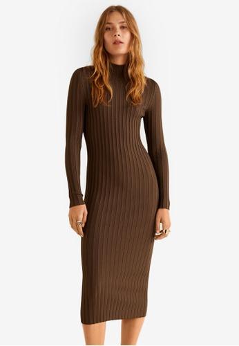Mango brown Turtle Neck Dress 62528AA1DD37D0GS_1