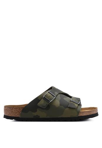 Birkenstock green Zurich Desert Soil Camou Soft Footbed Sandals C8F91SHE3F0B71GS_1