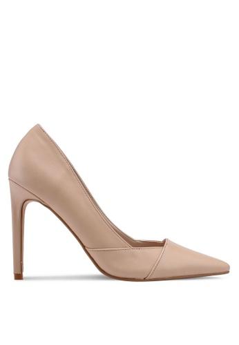 ZALORA 米褐色 經典粗跟高跟鞋 3EA3BSH4882E40GS_1