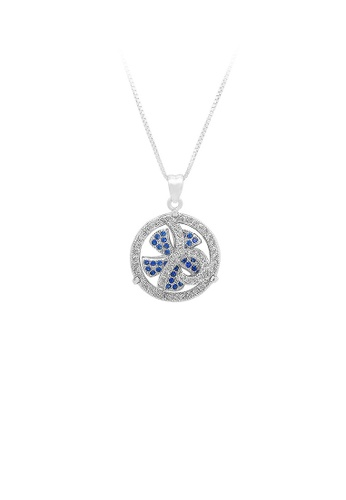Glamorousky silver 925 Sterling Silver Windmill Pendant with Blue Cubic Zircon and Necklace 4AD79ACD559491GS_1