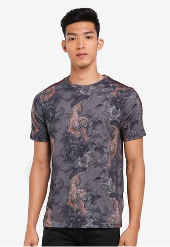 River Island black Tiger Print Tape Shirt F9D84AAF2B94EDGS_1