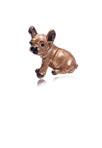 Glamorousky green Simple and Cute Brown Puppy Brooch with Cubic Zirconia 361B8ACF4F02C8GS_1