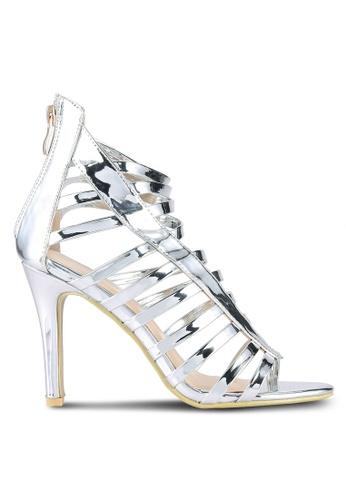 Something Borrowed silver Strappy Cut Out Heels DEC01SHD30B98EGS_1
