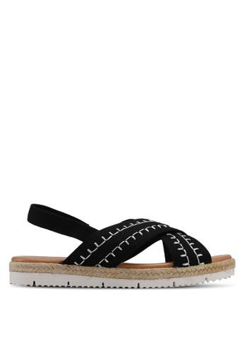 Velvet black Cross band Sandals A1138SHEBC8502GS_1