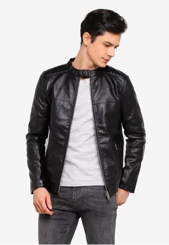 Burton Menswear London 黑色 菱格紋仿皮夾克 E5F2EAA49A0733GS_1