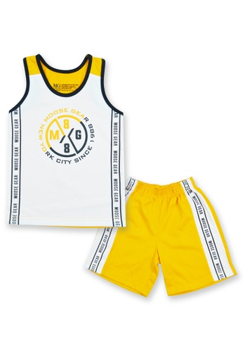 Moose Gear white and yellow Boys Sando With Short Set With Print Details F571DKA8DBC73FGS_1