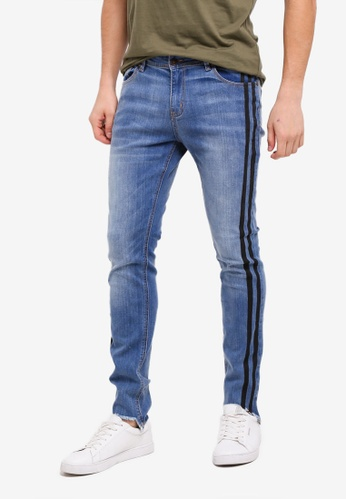 Penshoppe blue Super Skinny Fit Raw Finished Jeans 9AE2CAA6A4AF31GS_1