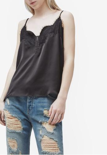 蕾絲拼貼細肩zalora 台灣帶, 服飾, 服飾