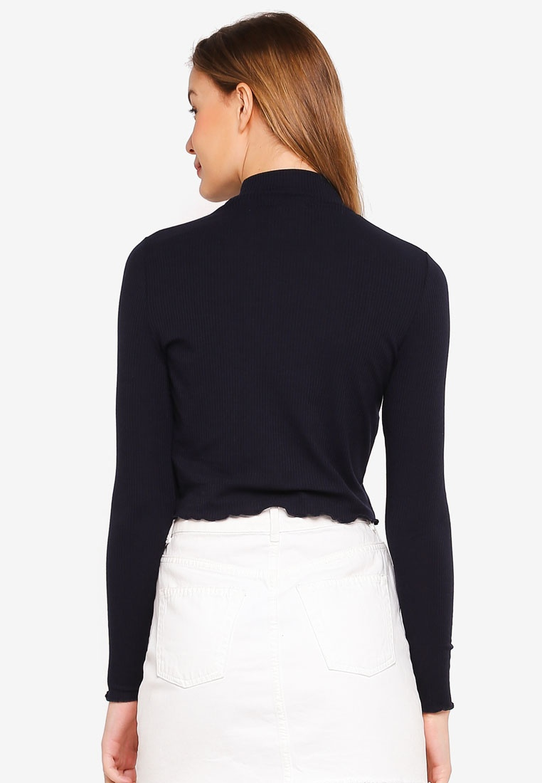 Lylah Neck Mock On Deepest Top Navy Chop Cotton xZRHww