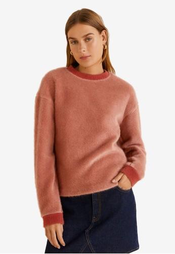 MANGO pink Faux Fur Sweatshirt 1154DAAFA66A58GS_1