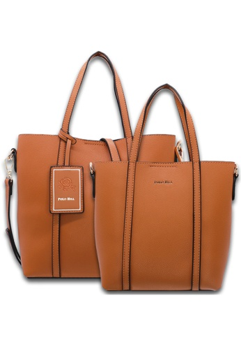 POLO HILL brown POLO HILL Coupled Merlyn Tote Bag 2-in-1 Set 2CC94AC7249580GS_1