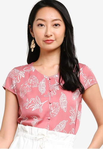 ZALORA BASICS pink and multi Pleat Shoulder Top 18C56AA8E855A8GS_1