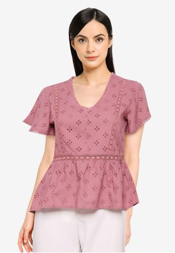 JACQUELINE DE YONG pink Vera Life Short Sleeve Top D11CAAAB550926GS_1