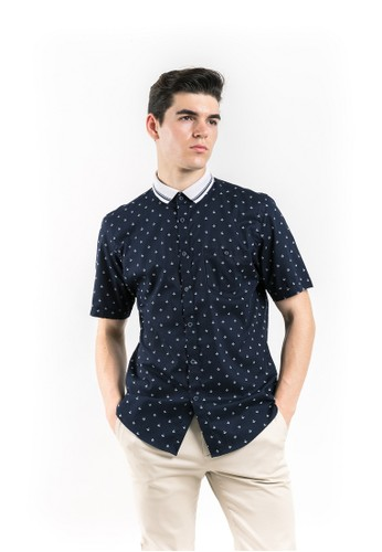 MANLY navy MANLY Kemeja Slim Fit Ancre Navy Blue 5595EAA41E2C60GS_1