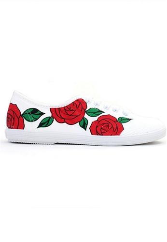 Crystal Korea Fashion 白色 and 紅色 韓國製春夏印花輕便小布鞋 5B72FSHB7E110AGS_1