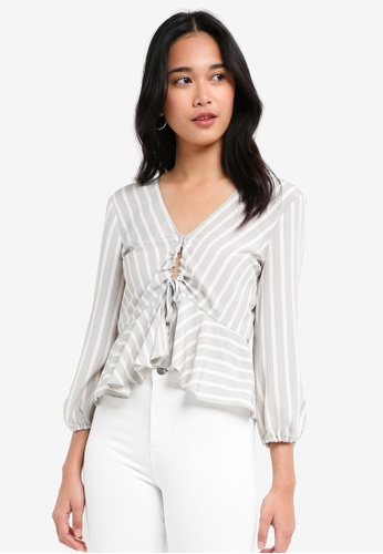 TOPSHOP grey Striped Ruched Keyhole Blouse D89EFAA43E2B9DGS_1