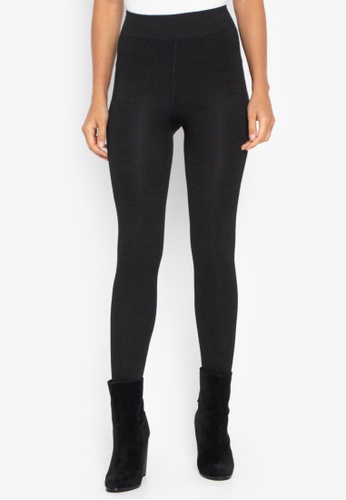 e1e0297096900 Well Suited black Fleece Lined Thermal Leggings with Heel Strap  41C24AA1B3EC82GS_1