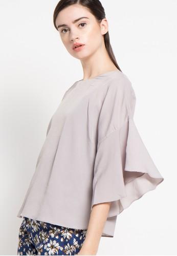 Raspberry grey Renata Half Sleeve Blouse RA572AA15ZPSID_1