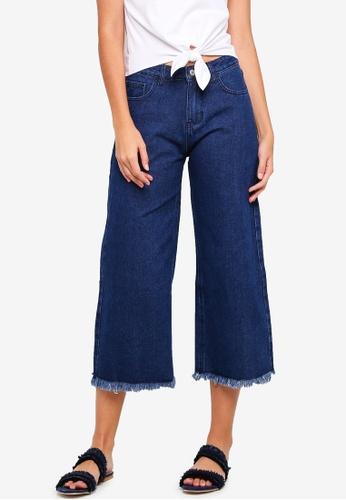 ZALORA blue Mid Rise Frayed Hem Wide Leg Jeans 2E5B1AA2381E0DGS_1