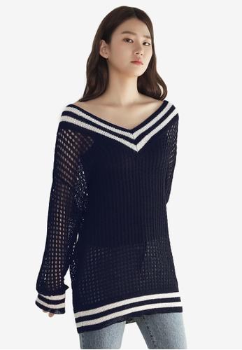 NAIN navy Wide V Neck Knit Top BC5F3AA4A98E12GS_1