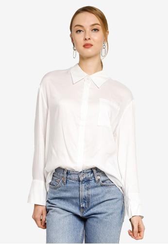 Hopeshow white Asymmetrical Hem Long Sleeves Button Blouse 7F555AA66AFA7DGS_1