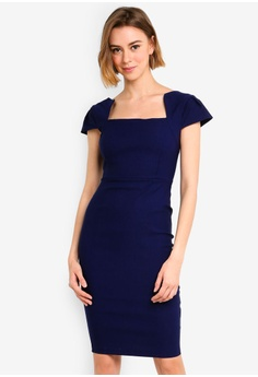87d4de2e Vesper navy Brooke Sleeve Detail Midi Dress 4F199AAA4C0EA2GS_1