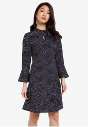 ZALORA navy Essential Tie Front Fit & Flare Dress F945FZZEE3A3B8GS_1