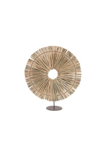Propstation Round Brown Raffia Straw Grass Table Decor - 50cm A7D68HL80289CFGS_1