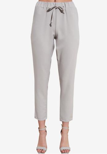 Trendyol grey Tie Waist Slim Fit Pants B5EE3AAE3EE623GS_1
