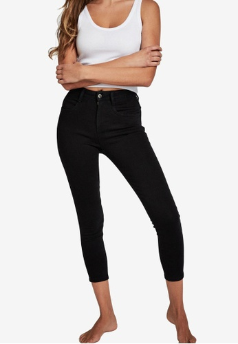 Cotton On black Mid Rise Cropped Super Stretch Jeans EAD44AABE82C52GS_1