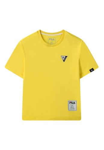 FILA yellow FILA x Maison MIHARA YASUHIRO Logo Dropped Shoulders Cotton T-shirt 48639AAC28F3B9GS_1